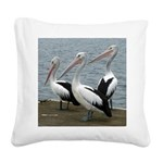 Three Gorgeous Pelicans Square Canvas Pillow