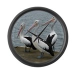 Three Gorgeous Pelicans Large Wall Clock