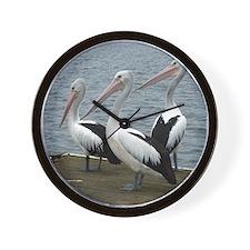 Three Gorgeous Pelicans Wall Clock