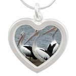 Three Gorgeous Pelicans Silver Heart Necklace