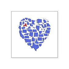 "New York Heart Square Sticker 3"" x 3"""