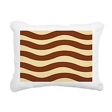 Creamy Stripes With Brown Rectangular Canvas Pillo