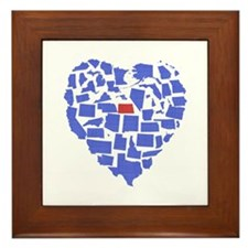 North Dakota Heart Framed Tile