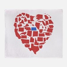 North Dakota Heart Throw Blanket
