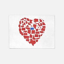North Dakota Heart 5'x7'Area Rug