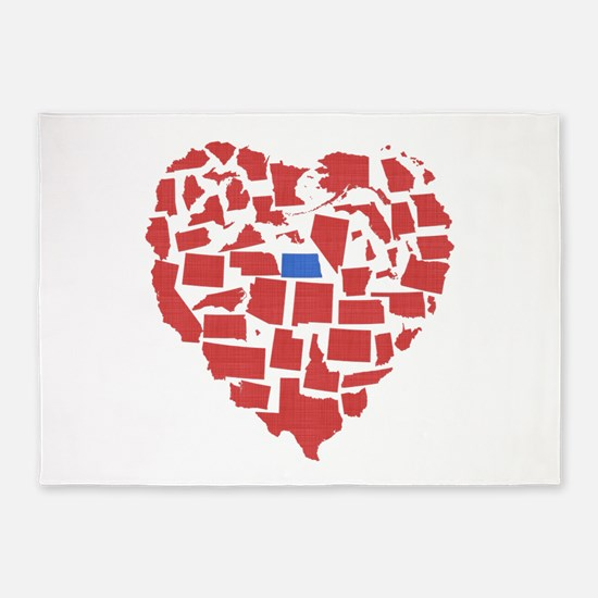 North Dakota Heart 5'x7'Area Rug