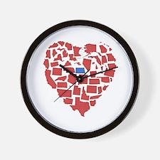 North Dakota Heart Wall Clock