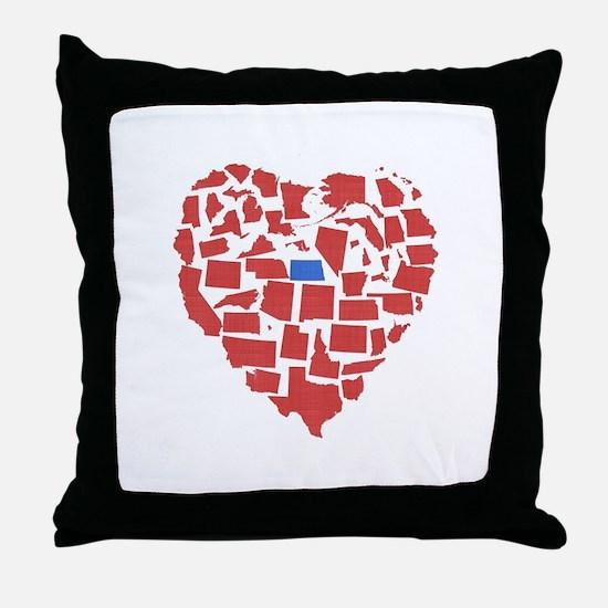 North Dakota Heart Throw Pillow