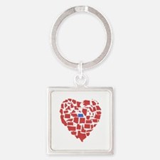 North Dakota Heart Square Keychain