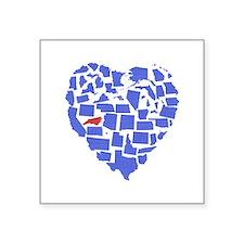 """North Carolina Heart Square Sticker 3"""" x 3"""""""