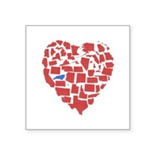 "North Carolina Heart Square Sticker 3"" x 3"""