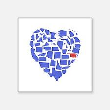"Oklahoma Heart Square Sticker 3"" x 3"""