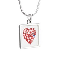 Oklahoma Heart Silver Square Necklace