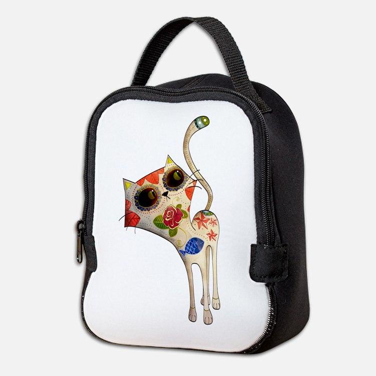 White Mexican Cat Neoprene Lunch Bag