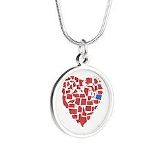 Oregon Heart Silver Round Necklace