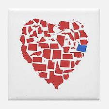 Oregon Heart Tile Coaster