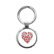 Oregon Heart Round Keychain