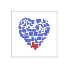"""Texas Heart Square Sticker 3"""" x 3"""""""