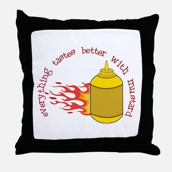 Better With Mustard Throw Pillow