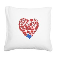 Texas Heart Square Canvas Pillow