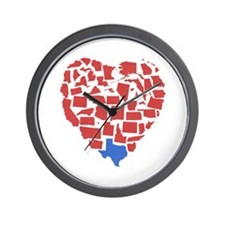 Texas Heart Wall Clock