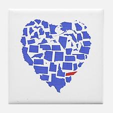 Texas Heart Tile Coaster