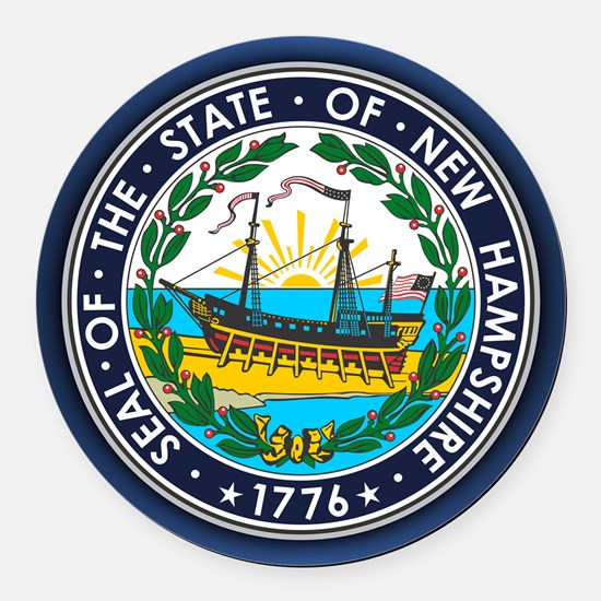 New Hampshire Seal Round Car Magnet