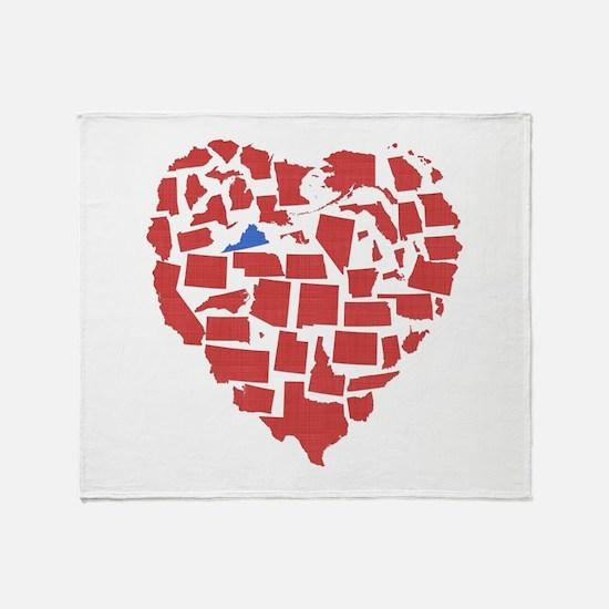 Virginia Heart Throw Blanket