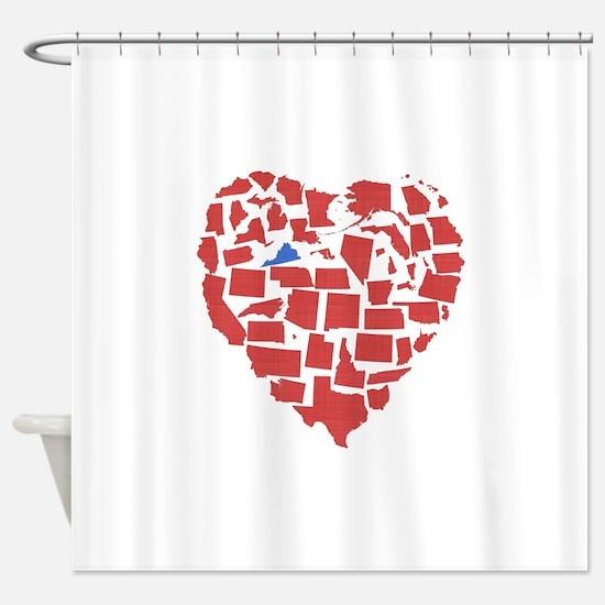 Virginia Heart Shower Curtain