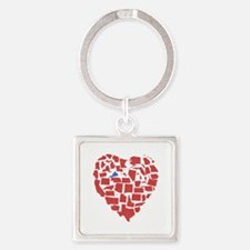 Virginia Heart Square Keychain