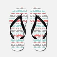 Coral Aqua Grey Mustache Flip Flops