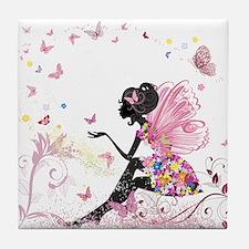Whimsical Pink Flower Fairy Girl Butt Tile Coaster