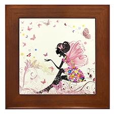 Whimsical Pink Flower Fairy Girl Butte Framed Tile