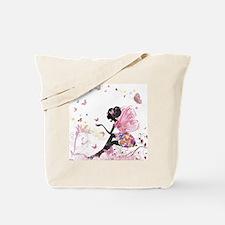 Whimsical Pink Flower Fairy Girl Butterfl Tote Bag
