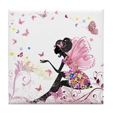 Whimsical Pink Flower Fairy Girl Butterflies Tile
