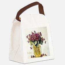 Violets in a Vase Canvas Lunch Bag