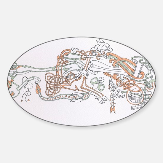 Celtic Ornament Animals Sticker (Oval)