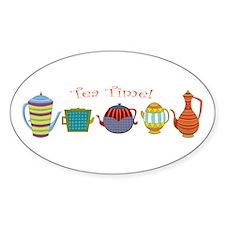 Tea Time! Teapots Sticker (oval)