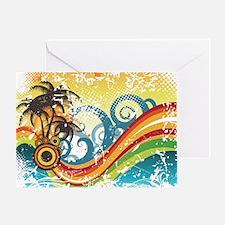 Funky Abstract Palm Waves Beach Grun Greeting Card