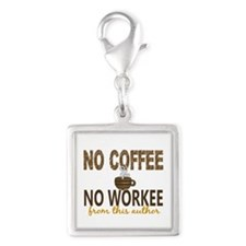 Author No Coffee No Workee Silver Square Charm