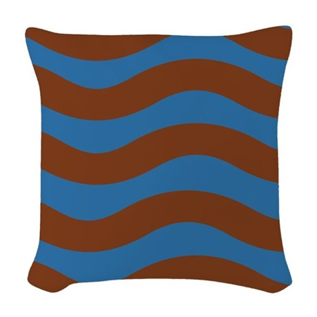 Warm Blue and Brown Waves Woven Throw Pillow by stripstrapstripes