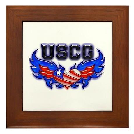 USCG Heart Flag Framed Tile