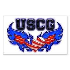 USCG Heart Flag Rectangle Decal