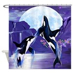 Orcas In A Bay Shower Curtain