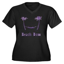 Beach Bum Pu Women's Plus Size V-Neck Dark T-Shirt
