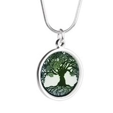 Tree of Life/Ouroboros Silver Round Necklace