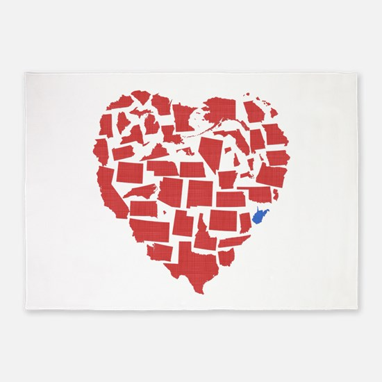 West Virginia Heart 5'x7'Area Rug