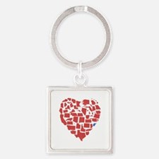 West Virginia Heart Square Keychain