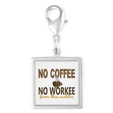 Auditor No Coffee No Workee Silver Square Charm