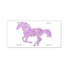 Purple Paisley Horse Aluminum License Plate